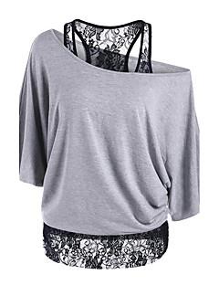 Rayon Kortermet,Løse skuldre T-skjorte Ensfarget Lapper Sexy Sofistikert Ut på byen Fritid/hverdag Dame
