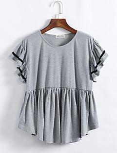 Mulheres Camiseta Casual Plus Sizes / Moda de Rua Verão,Sólido Preto / Cinza Algodão Decote Redondo Manga Curta Média
