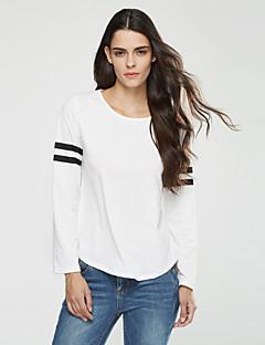 Langærmet Rund hals Medium Dame Hvid / Sort / Grå Stribet Forår / Efterår Simpel / Street I-byen-tøj / Casual/hverdag T-shirt,Polyester