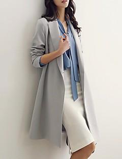 Γυναικείο Παλτό Καθημερινά Χαριτωμένο Μονόχρωμο,Μακρυμάνικο Κολάρο Πουκαμίσου Άνοιξη Φθινόπωρο Βαμβάκι Μακρύ