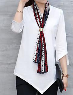 Dames Eenvoudig T-shirt,Uitgaan Effen V-hals Driekwart mouw Polyester
