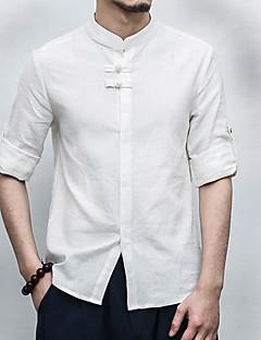 Для мужчин На каждый день Лето Рубашка Воротник-стойка,Шинуазери (китайский стиль) Однотонный Рукав ¾,Лён