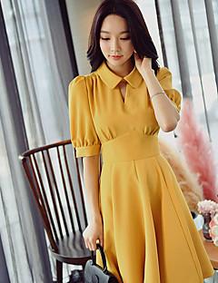 Damer Vintage Gade Sofistikerede I-byen-tøj Afslappet/Hverdag Arbejde Skede Swing Skjorte Kjole Ensfarvet,Krave Over knæet Kortærmet