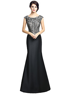 Trumpet / Mermaid Mother of the Bride Dress Floor-length Sleeveless Satin with Beading Embroidery