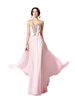 Formal Evening Dress - Sparkle & Shine A-line Sweetheart Floor-length Chiffon with Beading