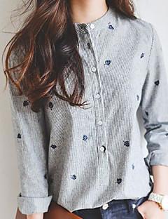 Damen Gestreift Einfach Ausgehen Hemd,Rundhalsausschnitt Langarm Baumwolle