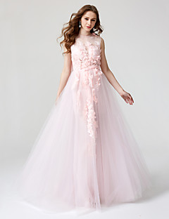 TS Couture® 포멀 이브닝 드레스 - 아름다운 뒤태 볼 드레스 쥬얼리 바닥 길이 레이스 튤 와 플라워 주름