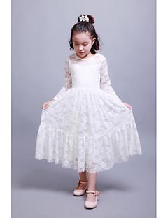 גזרת A באורך הקרסול שמלה לנערת הפרחים - כותנה עם תכשיטים עם תחרה קפלים