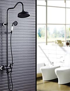 アンティーク調 伝統風 田舎風 シャワーシステム レインシャワー ワイドspary ハンドシャワーは含まれている with  セラミックバルブ 3つのハンドル二つの穴 for  オイルブロンズ , シャワー水栓