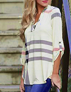 Women's Casual/Daily Street chic Fall Shirt,Striped V Neck Cotton