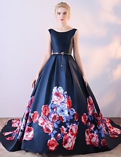 ボールガウンスクープネックコートトレインサテンシフォンフォーマルイブニングドレス(パターン付き)/プリント