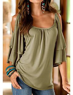 Polyester Medium Halvlange ermer,Rund hals T-skjorte Ensfarget Sommer Enkel Ut på byen Dame