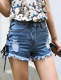 Kadın Sokak Şıklığı Yüksek Bel Mikro-elastik Kotlar Şortlar Düz Pantolon,sökülmüş Püsküllü,Solid