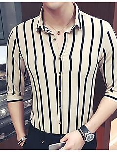남성 줄무늬 셔츠 카라 ½ 길이 소매 셔츠,심플 캐쥬얼/데일리 면 얇음