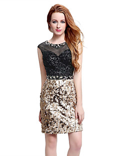 Cocktail Party Dress A-line Scoop Short / Mini Tulle Sequined with Crystal Detailing