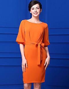 Bao yan Women's Beach Simple Sheath DressSolid Boat Neck Above Knee  Length Sleeve Polyester Summer Mid Rise Inelastic Thin