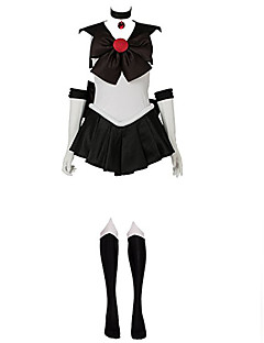 Inspired by Sailor Moon Sailor Pluto  Meiou Setsuna Anime Cosplay Costumes Cosplay Suits Patchwork White / Black Sleeveless Dress Gloves / Bow