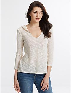 Normal Pullover Dame,Ensfarget Beige V-hals Med hette Langermet Høst Tynn Mikroelastisk