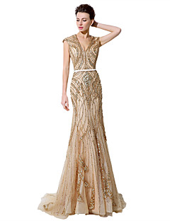 Formal Evening Dress - Sparkle & Shine Trumpet / Mermaid V-neck Floor-length Tulle with Beading
