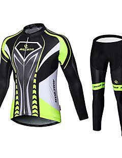 Malciklo Calça com Camisa para Ciclismo Homens Manga Comprida Moto Camisa/Roupas Para Esporte Tights BibSecagem Rápida Zíper Frontal