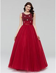 Serata formale Vestito - Brillante e glitterato Da ballo Stondata Lungo Tulle conDettagli con cristalli Dettagli con perline Fascia /