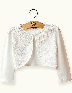 Girls' Cotton White/Pink Long Sleeve Cardigan Jacket