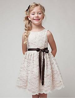 Ball Gown Short / Mini Flower Girl Dress - Organza Jewel with Lace Sash / Ribbon