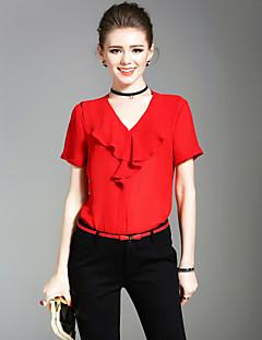 Kortærmet V-hals Medium Damer Ensfarvet Sommer Simpel Sødt Gade I-byen-tøj Afslappet/Hverdag Ferie Bluse,Polyester