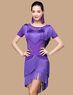 Devemos vestidos de dança latina mulheres poliéster / renda 2 peças
