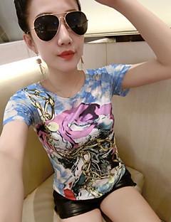 Γυναικείο T-shirt Γιορτή Κομψό στυλ street Γεωμετρικό,Κοντομάνικο Στρογγυλή Λαιμόκοψη Καλοκαίρι Μεσαίου Πάχους Άλλα
