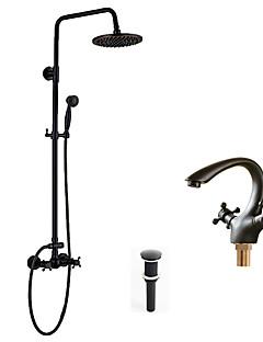 アンティーク調 伝統風 アールデコ調/レトロ風 シャワーシステム レインシャワー ハンドシャワーは含まれている with  セラミックバルブ 3つのハンドル二つの穴 for  オイルブロンズ , シャワー水栓