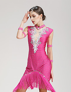 Danse latine Robes Femme Spectacle Elasthanne 1 Pièce Sans manche Taille moyenne Robe