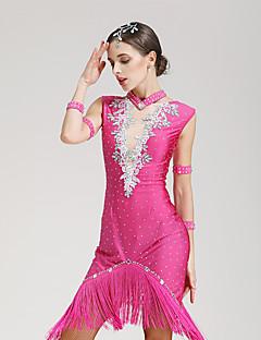 라틴 댄스 드레스 여성용 성능 스판덱스 1개 민소매 내츄럴 드레스