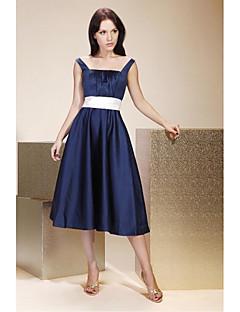 A-Line Princess Straps Tea Length Satin Bridesmaid Dress with Draping Sash / Ribbon by LAN TING BRIDE®