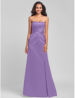 LAN TING BRIDE Sweep / Brush Train Strapless Sweetheart Bridesmaid Dress - Lace-up Sleeveless Satin