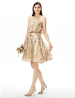 LAN TING BRIDE Knee-length Jewel Bridesmaid Dress - Sparkle & Shine Sleeveless Sequined