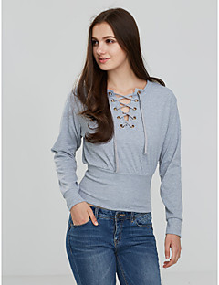 Women's Lace up Casual/Daily Cute Fall / Winter T-shirtSolid Round Neck Long Sleeve Black / Gray Cotton Medium