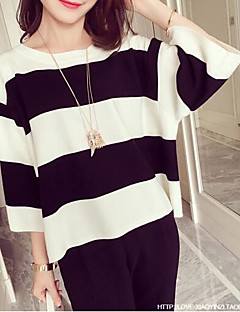 Women's Casual/Daily Simple Spring Summer T-shirt,Striped Round Neck ¾ Sleeve Polyester Medium