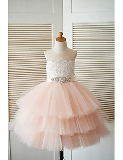 Princess Tea-length Flower Girl Dress - Lace Tulle Jewel with Beading Buttons Sash / Ribbon