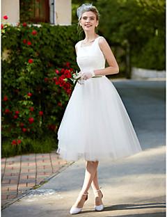 A-Fu גזרת A שמלת חתונה שמלות לבנות קטנות באורך  הברך מרובע תחרה טול עם תחרה