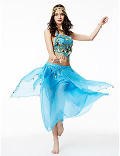 ריקוד בטן תלבושות בגדי ריקוד נשים הופעה שיפון פרנזים 2 חלקים בלי שרוולים גבוה חצאיות עליון