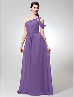 LAN TING BRIDE Floor-length Chiffon Bridesmaid Dress - A-line One Shoulder Plus Size / Petite