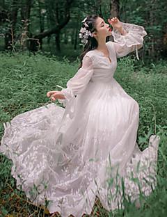 한 조각/드레스 빈티지 스타일 우아한 프린세스 코스프레 로리타 드레스 화이트 레이스 빈티지 긴 소매 발목 길이 드레스 에 대한 레이스