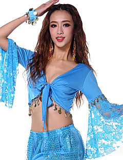 Biz göbek dans tops kadın performans pamuk 1 parça uzun kol tops