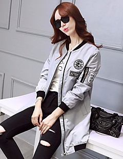 Women's Going out Party/Cocktail Holiday Street chic Sophisticated Spring Fall Trench Coat,Print V Neck Long Rayon