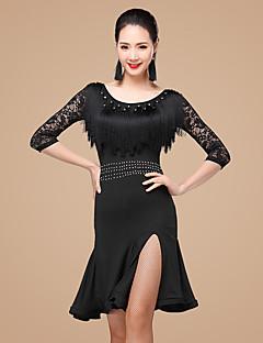 Devemos vestidos de dança latina mulheres rhinestones de poliéster rendas de babados 2 peças