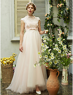 2017 LAN TING BRIDE A-line Wedding Dress - Chic & Modern Beautiful Back Sweep / Brush Train High Neck Tulle withBeading Bow Flower Sash /