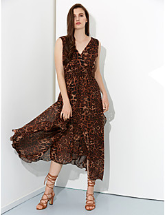 Women's Going out Plus Size Dress,Leopard V Neck Midi Sleeveless Brown Silk Spring / Summer / Fall