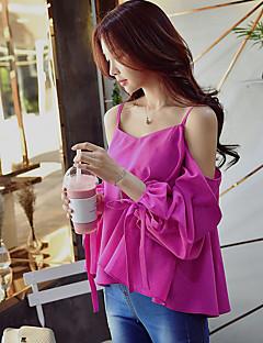 Damen Solide Sexy Street Schick Anspruchsvoll Party/Cocktail Klub Urlaub Hemd,V-Ausschnitt Sommer Kurzarm Polyester Undurchsichtig Dünn
