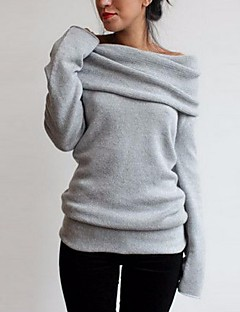Women's Casual/Daily Sweatshirt Solid Round Neck Removable Lining Inelastic Cotton Long Sleeve Winter